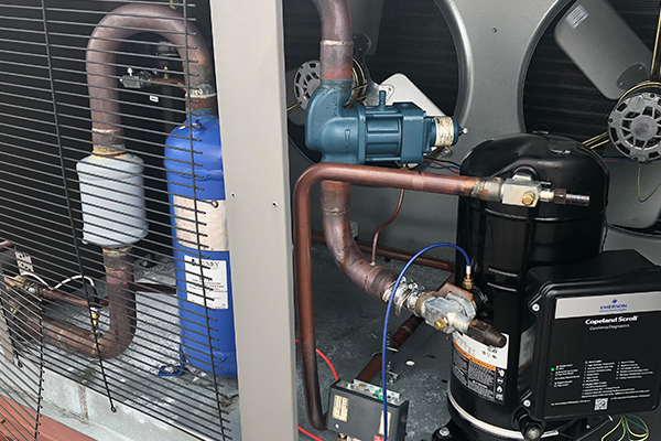 Inside a commercial AC unit