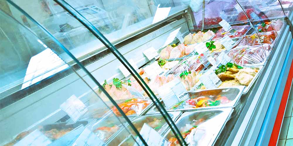 Refrigerated display of meat