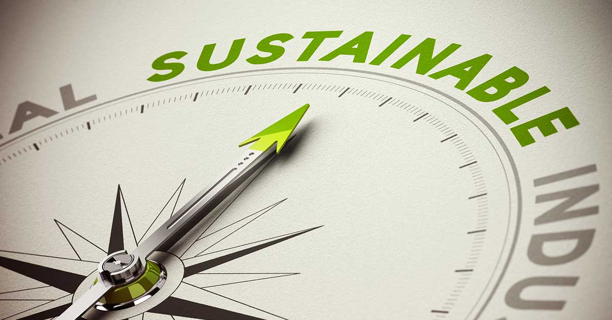 compass pointing to the word sustainable