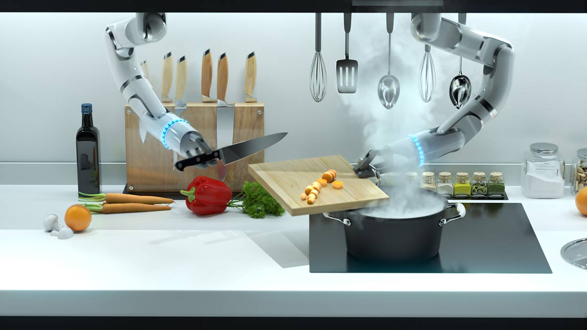 Robot hands preparing and cooking a meal. An example of how robots are transforming commercial kitchens